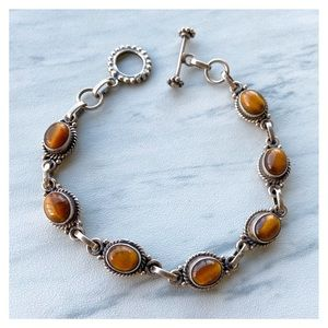 925 Sterling silver golden tiger eye gem bracelet
